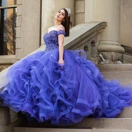 9919db5b74 Vestido de Novia Ball Gown Quinceanera Dresses Long Sexy Sparkly Crystal Puffy  Skirt Princess Off Shoulder Tulle Prom Dresses Beaded