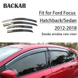 venda por atacado Backar 4pcs Sun Escudo Auto Car do Windows Chuva de vento Deflector Visor guarnição Para Ford Focus Hatchback / Sedan 2012-2018 Acessórios