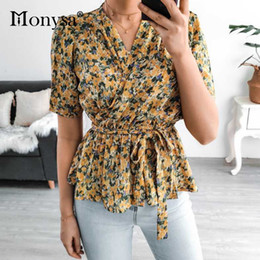 Wholesale peplum tops for for sale – plus size Floral Print Peplum Tops For Women Summer New Arrival Puff Short Sleeve Casual Blouse Ladies Elegant V Neck Shirt Yellow