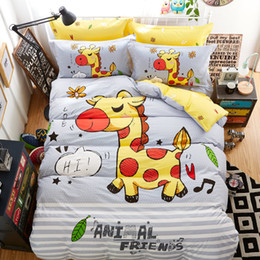cotton bedding set boy 2019 - 100% cotton little Mermaid Bedding Set luxury Animal zoo single Bed Sheet Duvet Cover Pillowcase Boy Room Decoration Bed