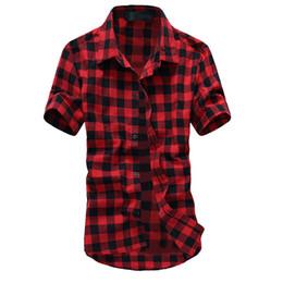 $enCountryForm.capitalKeyWord UK - Slim Red And Black Plaid Shirt Men Shirts 2019 Summer Spring Fashion Chemise Homme Men Dress Shirts Short Sleeve Shirt