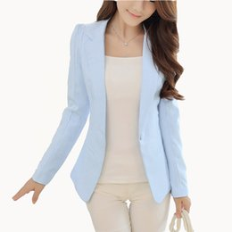 Ladies jacket korean styLe online shopping - New Fashion Women Solid Blazer Females Casual Suit Womens Single Button Slim Jacket Female Top Coat Cape Ladies Korean Style
