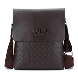 polo bags NZ - Men's Messenger Bag Business Fashion Briefcase PU Plaid Men's Casual POLO Bag Shoulder Messenger Bag Cross Body