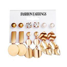 $enCountryForm.capitalKeyWord NZ - Creative metallic element round piece irregularly geometric metal ear stud set punk golden alloy 6pairs set earrings set pearl ear studs