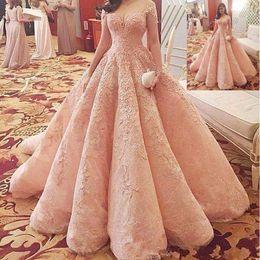 Off shOulder neckline yellOw dress online shopping - 2020 Luxury Blush Pink Puffy Prom Dresses Vestidos De Fiesta Sheer Neckline Off Shoulders Lace Appliques Beaded A line Quinceanera