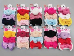 $enCountryForm.capitalKeyWord Australia - Baby Girls Knot Ball Donut Headbands Bow Turban 3pcs set Infant Elastic Hairbands New Children Knot Headwear kids Hair Accessories 10 Colors