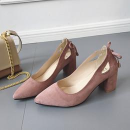 Black Blocks Australia - Dress Shoes 2019 Fashion Women Pumps Block High Heels Ladies Pointed Toe Suede Shallow Wedding Black Pink Khaki Large Size 35-44