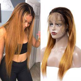 $enCountryForm.capitalKeyWord Australia - Brazilian Virgin Hair Lace Front Wigs 1B 30 Straight Human Hair 1B 30 Two Tone Color Lace Front Wigs