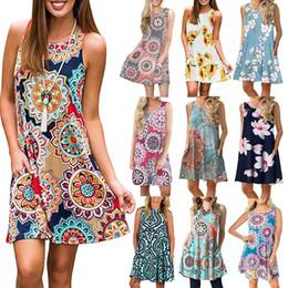 Großhandel 2019 Designer Sommer europäischen und amerikanischen Frauen Amazon Wunsch Explosion Print ärmelloses Kleid 33 Farben Großhandel