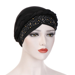 c51ac6f55d861 Sun Protection Hair UK - Muslim Women Hijab Braid Cross Silky Bead Drill  Turban Hats Cancer