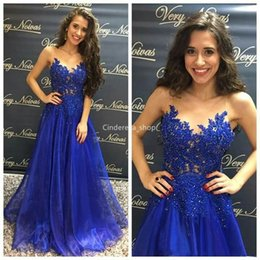 $enCountryForm.capitalKeyWord Australia - Beautiful Royal Blue Arabic Prom Dresses Long 2019 Sheer Scoop Lace Appliques Sequined Sleeveless Girls Graduation Party Gowns abendkleider