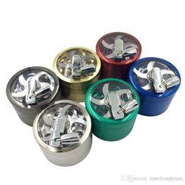 tobacco cutter Australia - 63mm Alloy Handle Grinder Hand Crank Crusher Tobacco Cutter Smoking Grinder 4 Layers Tobacco Grinder Free Shipping