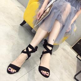 $enCountryForm.capitalKeyWord Australia - Hot2019 Bandage Bow High-heeled Shoes Fine With Black Toe Fairy Wind Chalaza Sandals Tide