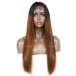 Human Hair For Making Wigs UK - Fast shipping 150% density Hand-made Brazilian human hair silky straight Ombre Color full lace&lace front wig with baby hair for black women