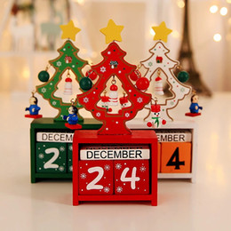 wholesale wooden calendars NZ - Wooden Christmas Calendar Home Decorations White for Red Ornaments Party Green Calendar Table Christmas free shipping