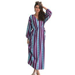 $enCountryForm.capitalKeyWord UK - Women New Spring Beach Dresses Female Elegant Holiday Robe Bohemian Dress Casual Full Sleeves V-neck Long Maxi Frocks