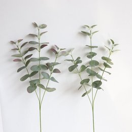 Wholesale 2018 new Artificial Silver Dollar Eucalyptus Leaf For silk Flowers Household Store Dest Rustic Decoration Clover Plant LX4934