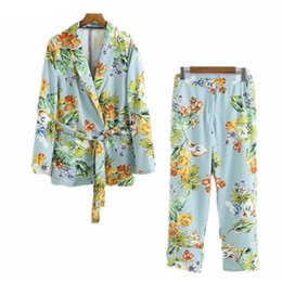 flowers printed ladies suits UK - Spring Autumn 2019 Women Suit European style Holiday Ladies Flower Pattern Blue Blazer And Pants 2Pcs Casual Print Two Piece Set