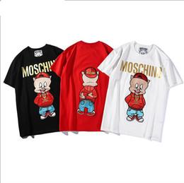 19ea8b888889 Más vendidos Principios de la primavera de lujo Marca de los hombres  Camiseta de dibujos animados Lucky pig Bordado de precisión + Impresión de  bronceado ...