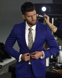 Wholesale groom coat pant tie suits resale online - Latest Coat Pant Design Mens Suit Pieces Slim Fit Men Tuxedos For Weddings Party Prom Groom Royal Blue Jacket Pants Tie
