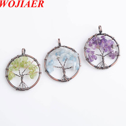 chip pendant NZ - WOJIAER Ancient Copper Tree of Life Pendant Natural Gem Stone Chip Beads Wire Wrapped Women Jewelry DBN820
