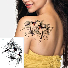 tatoo lips wholesale NZ - Big Flower arm tattoo Temporary Tattoo Sticker Sparrow Magpie Fake Tatoo Sleeve Flash Tatto Waterproof Body Art Women sexy girls