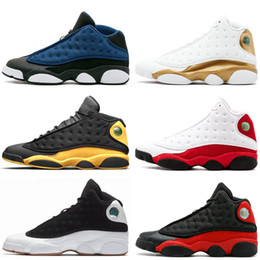 Wholesale 2017 AIR Jump men XIII low pure money Navy blue Chutney black gold wheat Men basketball shoes black sports sneakers size