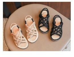 2019 девочек сандалии лето новые девушки тканые корейский стиль сандалии с открытым носком детские сандалии пляжная обувь нескользящей