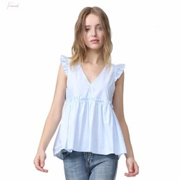 ruffle back blouse NZ - Women Elegant Ruffled Blouses V Neck Back Tops Tie Sleeveless Pleated Shirt Ladies Casual Sweet Chic Bow Blusas Wa014