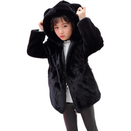 148000506ba 2019 Faux Fur Coats Autumn Winter Warm Jackets For Girls And Boys Zipper  Children Cute Cartoon Animal Ear Hooded Baby Jacket N14