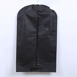 Chinese  Non Woven Suit Overcoat Dust Proof Cover High Quality Black Clothing Storage Bag Travel Garment Carrier PPA424 manufacturers