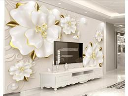 $enCountryForm.capitalKeyWord Australia - Wholesale-Custom 3d silk photo mural wallpaper HD 3D embossed rose beige jewelry TV background wall sticker Papel de parede