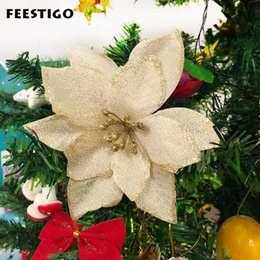 Xmas tree decorations flowers online shopping - FEESTIGO Artificial Flowers Christmas Decorations For Home Christmas Tree Ornaments Xmas Tree New Year Decor Navidad Y191021