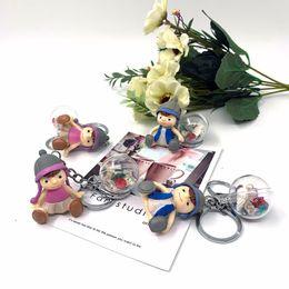 $enCountryForm.capitalKeyWord Australia - 1 Pair BOY Girl Cartoon Dolls Keychain Keyring For Lover Couples - Cute Car Key Chian Ring Holder Womens Bag Charm Pendant