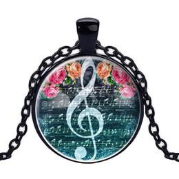Necklaces Pendants Australia - 2019 New Music Symbol Flower Pendant Convex Round Glass Time Gemstone Handmade Necklace Keyring Jewelry Art Picture