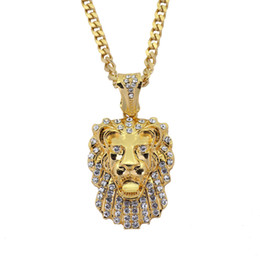 $enCountryForm.capitalKeyWord NZ - New European and American Hip-hop Necklace Lion Head Hanging Stainless Steel Cuban Necklace Factory Direct Sales