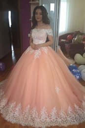 bf099bf00e Blush Pink Off Shoulder Sweet 16 Dresses Ball Gown Lace Applique Lace-up Quinceanera  Dress Tulle Prom Dresses Long 8th Grade Cheap 2019