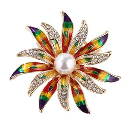 $enCountryForm.capitalKeyWord Australia - 2019 Colorful Enamel Brooches Crystal Vintage Sun Flower Brooches for Women Large Brooch Pin Fashion Dress Coat Accessories Cute Jewelry