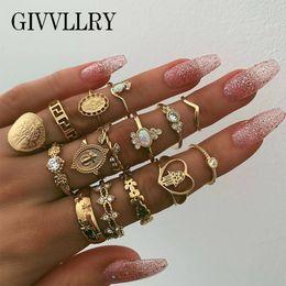 $enCountryForm.capitalKeyWord Australia - GIVVLLRY 15Pcs set Of Bohemian National Fashion Retro Fatima Hand Beauty Head Gold Coin Cross Patterned Lady Loving Ring Ring
