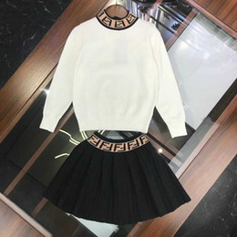 Lace high end skirt online shopping - Designer brand girl sweater dress luxury pure wool dress high end sweater skirt suit autumn hoodie sports suit