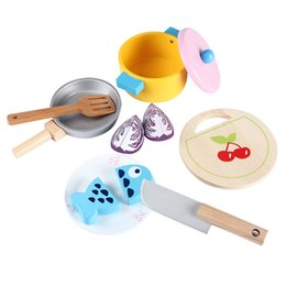 Girls Kitchen Play Set Australia - Educational Wooden Kitchen Play Cooking Set (7pcs) Pretend Play Game for Boys Girls