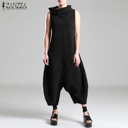 $enCountryForm.capitalKeyWord Australia - wholesale Women Jumpsuit Stylish Turtleneck Harem Baggy Pants Long Playsuits Cotton Drop Crotch Overalls Rompers Macacao Feminino