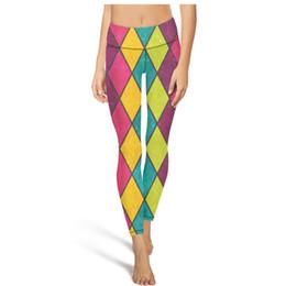 $enCountryForm.capitalKeyWord NZ - Colorful Rainbow Checkered High Waist Yoga Pants Womens Gym Yoga Pants Elastic Designer Tights Cool Leggings Black