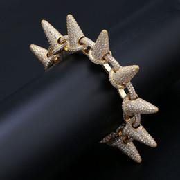 $enCountryForm.capitalKeyWord Australia - 18K Gold CZ Cublic Zirconia Hiphop Big Stud Cuban Link Chain Bracelet 28mm Miami Curb Chain Rock Rapper Jewelry Copper Wristband for Boys