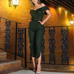 Elegant Skinny Jumpsuits Australia - Women Off Shoulder Sexy Jumpsuit With Belt Ruffles Ruffle Elegant Jumpsuit Split Leg High Waist Jumpsuits Overalls