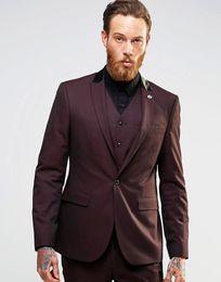 $enCountryForm.capitalKeyWord UK - Three Piece Wine Evening Party Men Suits Peak Lapel Trim Fit Custom Made Wedding Tuxedos (Jacket + Pants + Vest+Tie)W:069