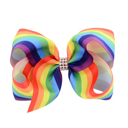 multi colored hair bows UK - free shipping 6pcs 5.5-6inchRainbow Stripe Print Colored Bow ombre girl hair clips Alligator clips Girls' Cloth Wrapped Hairpins Kids Hair A