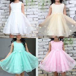 Girls white Gauze dress online shopping - Baby Girl Dresses Ruffle Gauze Floral Bow Sleeveless O Neck Mini Princess Dress Kids Designer Clothes Girls Baby Girl Vest Dress