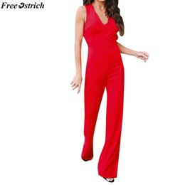 Plus Size V Neck Jumpsuit Australia - FREE OSTRICH Women's Fashion Red Backless V-neck Long Jumpsuits ladies Business Casual Wide Leg Summer Party Rompers Plus Size