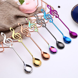 tea music note UK - Personalized music note small coffee spoon 304 stainless steel tea honey sugar spoon gift kawaii small dessert spoons charm